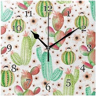 Kaktus suckulenter blomma väggklocka tyst icke-tickande fyrkantig konstmålning klocka för hem kontor skoldekor