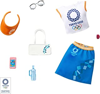 Barbie Storytelling Fashion Pack of Doll Clothes Inspired by The Olympic Games Tokyo 2020: Top, Skirt and 6 Accessories Do...