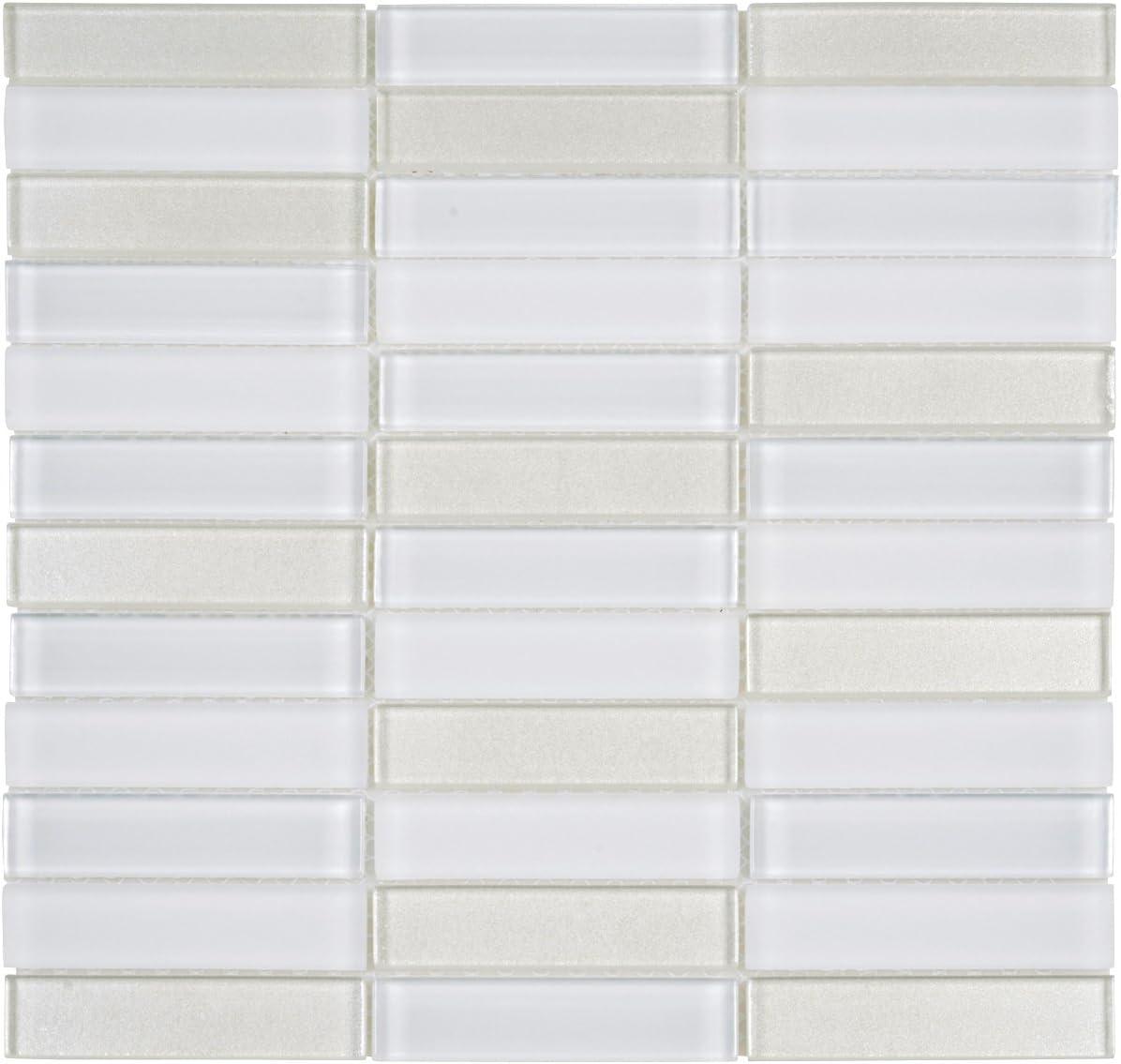 Modket TDH114MO-S Sample Sand Beige Brown Cream Crystal Glass Mosaic Tile Matte Blend Stacked Pattern Backsplash