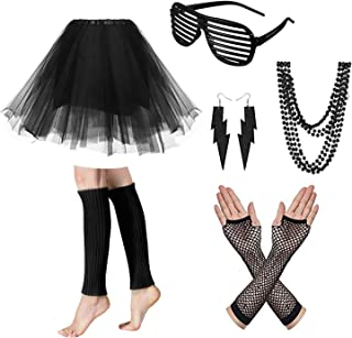 Women's 80s Fancy Dress Accessories Glasses Neon Earrings Fingerless Fishnet Gloves Necklace Legwarmer for Fashion Retro 80s Party Outfit Costume Set Ladies and Girls Halloween and Christmas (Black)