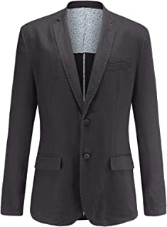 LEOCLOTHO Men's Casual Blazer Linen Suit Jacket Slim Fit Two-Button Solid Colour Lightweight Coat Tops
