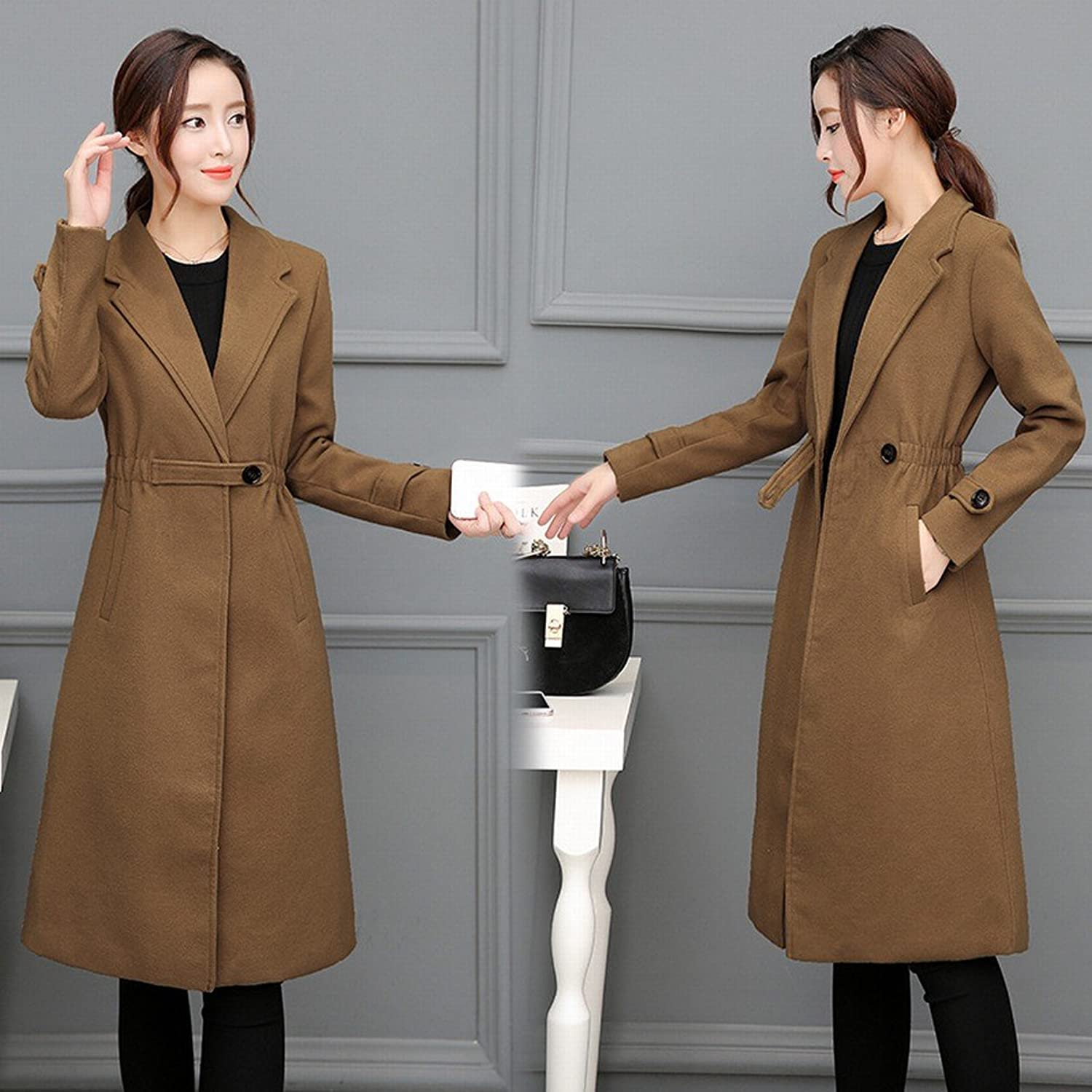 DEED Women's CoatWoolen Coat in The Long Section of Autumn and Winter Clothing Coat Casual Wear Waist Coat Female Wave