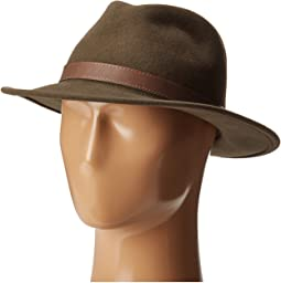 Bryson Drop Brim Fedora with Leather Trim