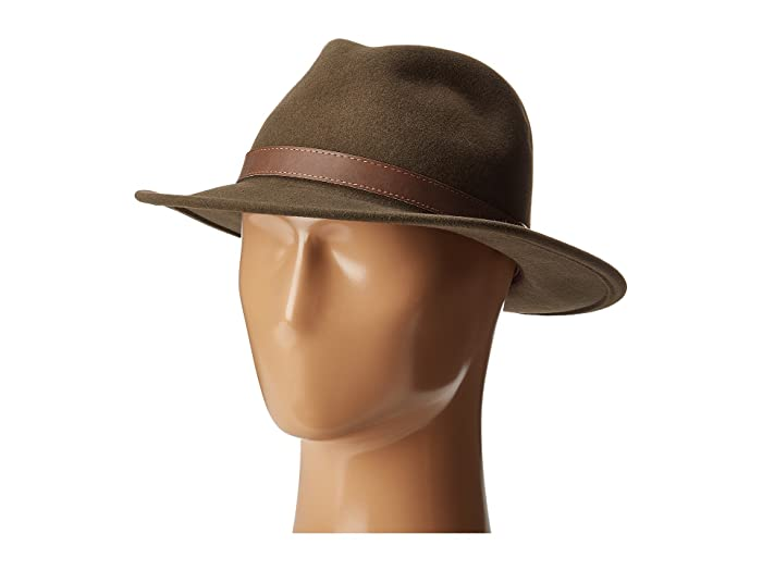 Country Gentleman Bryson Drop Brim Fedora with Leather Trim (Khaki) Caps