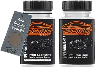 TRISTARcolor Autolack Lackstift Set für Alfa Romeo VV658B Titanio Satinato Metallic Basislack Klarlack je 50ml