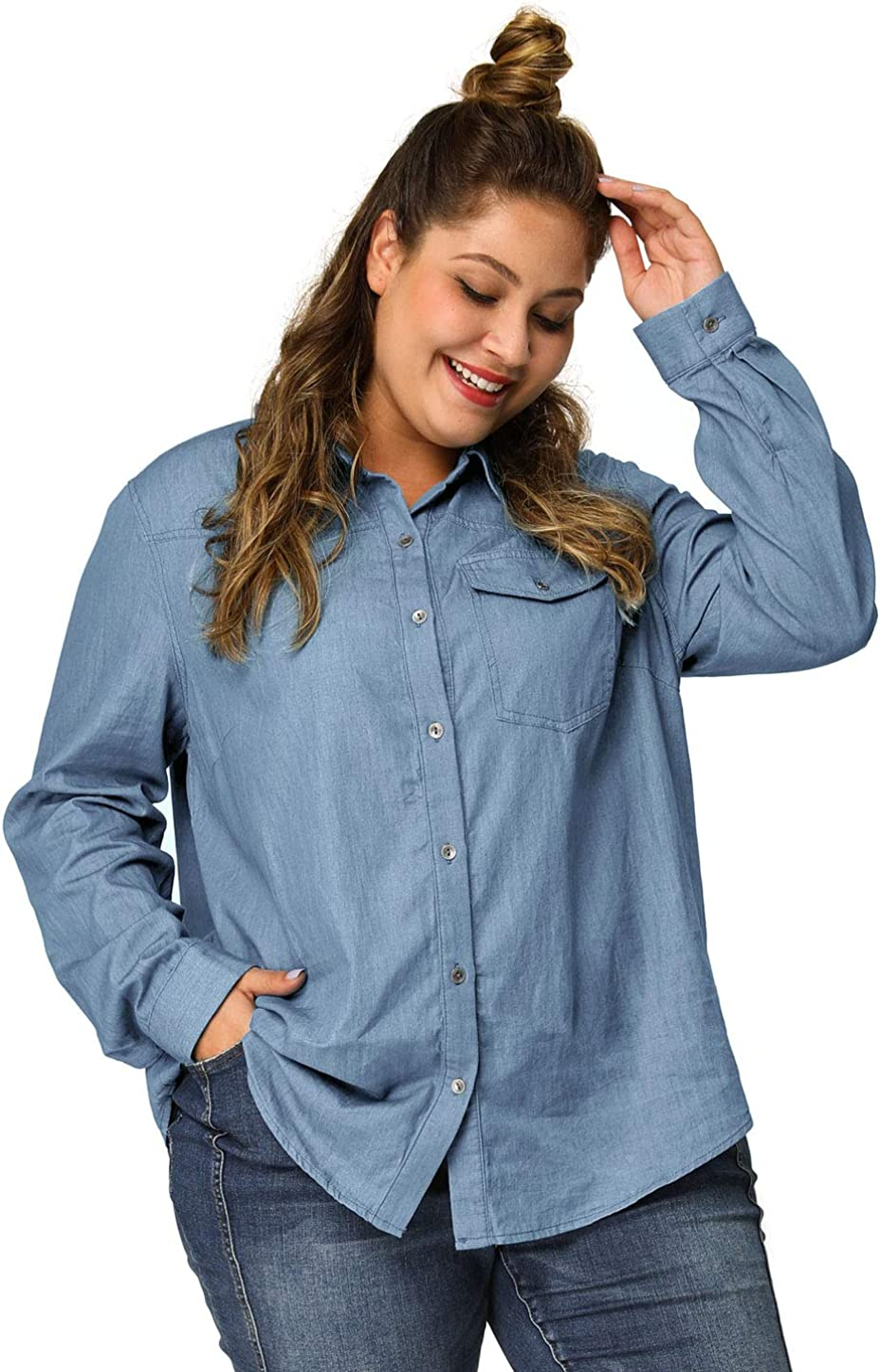 Agnes Orinda Women's Plus Size Denim Shirts Long Sleeve Chest Pocket Button Down Chambray Shirt