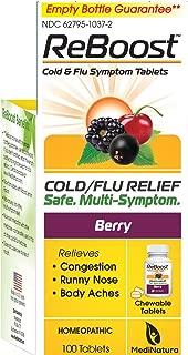 MediNatura ReBoost Natural Cold/Flu Symptom Relief, Non-Drowsy - 100 Tabs - Berry