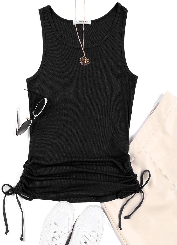 Ekouaer Women's Halter Cami Top Sleeveless Knit Slim Ribbed Summer Basic Tank Tops