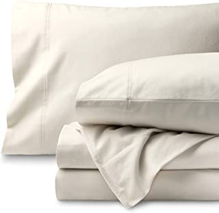 Bare Home Flannel Sheet Set 100% Cotton, Velvety Soft Heavyweight - Double Brushed Flannel - Deep Pocket (Twin XL, Ivory)