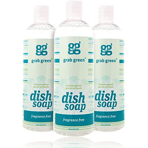 Grab Green Naturally-Derived, Biodegradable Liquid Dish Soap, Fragrance Free, 16 Ounce