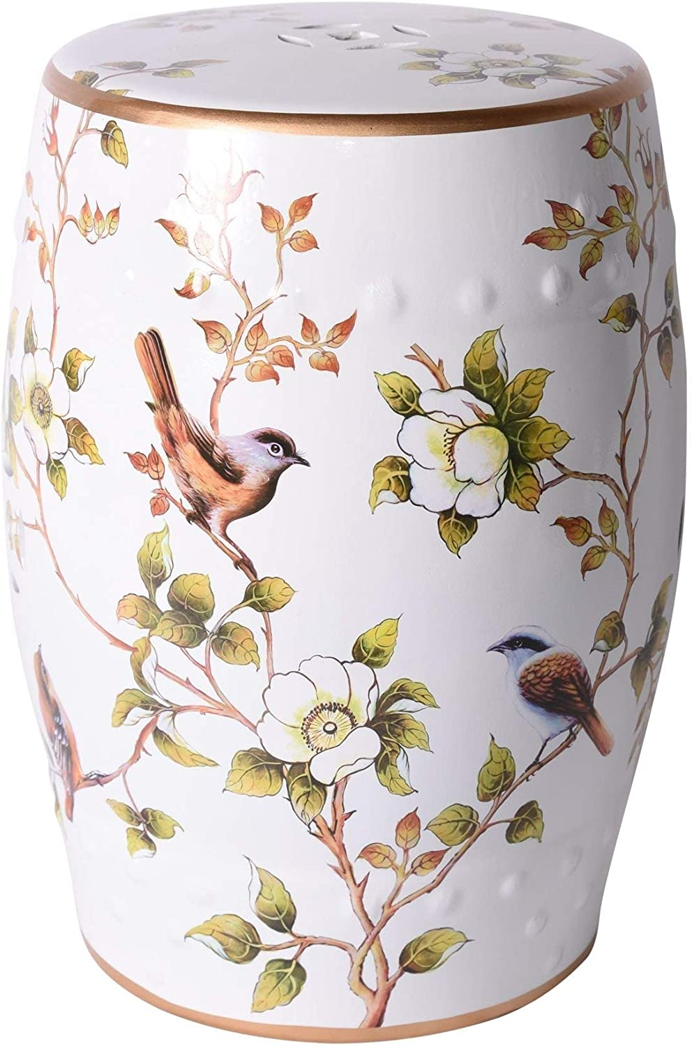 UKN Cream Max 61% OFF White Over item handling ☆ Garden Stool with Porc Birds and Flower 13x13x18
