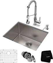 KRAUS KHU101-23-1610-53CH Set with Standart PRO Sink and Bolden Commercial Pull Faucet Kitchen Sink & Faucet Combo, 23 Inch, Stainless Steel/Chrome