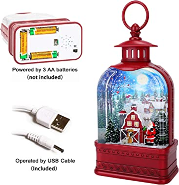 Christmas Snow Globe with Swirling Glitter Battery Operated &USB Powered Hand-Hang Lantern Musical Lighted Glitter Water Lant