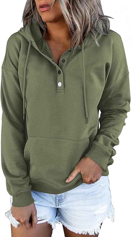COMVALUE Womens Hoodies,Button Down Hoodies Drawstring Pullover Hooded Pocket Long Sleeve V Neck Sweatshirts