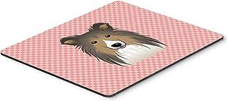 Caroline's Treasures Checkerboard Pink Sheltie Mouse Pad/Hot Pad/Trivet (BB1242MP)