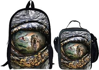 HUGS IDEA 2 Piece Boys School Backpack Cool Bookbag with Insuleted Lunch Bag (Dinosaure Eye Pattern)