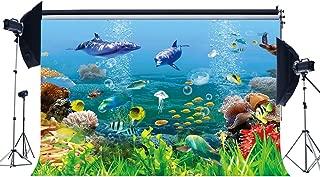Gladbuy Vinyl 7X5FT Underwater World Backdrop 3D Aquarium Backdrops Fish Dolphin Turtle Under The Sea Photography Background for Boys Room Decoration Wallpaper Birthday Party Photo Studio Props KX379