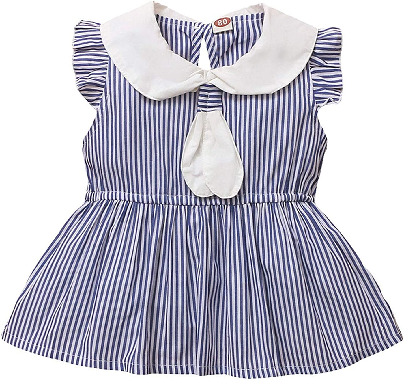 LAPA Baby Girls One Pieces Dress, Cute Striped with Bow Tie Ruffle Sleeve with Back Key Hole for Newborn Infant Girl