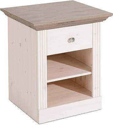 Steens Furniture Commode de Nuit Monaco 001/69, Blanc/Gris, pin