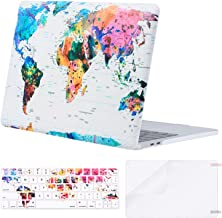MOSISO MacBook Pro 13 inch Case 2019 2018 2017 2016 Release A2159 A1989 A1706 A1708, Plastic Pattern Hard Shell & Keyboard Cover & Screen Protector Compatible with MacBook Pro 13, World Map