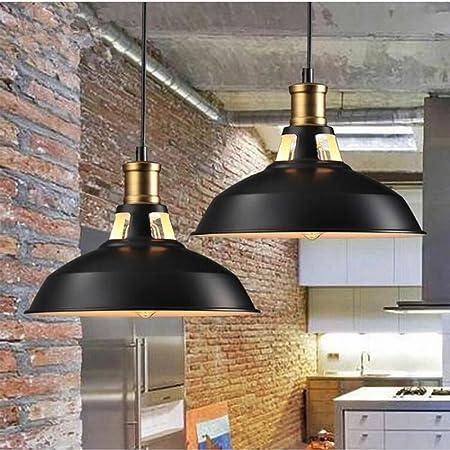 STOEX Suspension Vintage Industrielle Lot de 2 Lampe de Plafonniers LED Retro Métal Lustre avec Abat-jour Luminaire E27 Eclairage de Plafond Noir