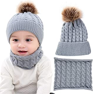 2PCS Toddler Baby Knit Hat Scarf Winter Warm Beanie Cap with Circle Loop Scarf Neckwarmer