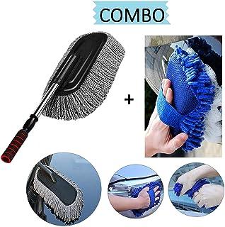 N&M™ Car Accessories Combo pack (2 PC) – 1 PC Microfiber Car Cleaning Retractable Brush Duster + 1 PC Multipurpose Car Cleaning Sponge (Random color)