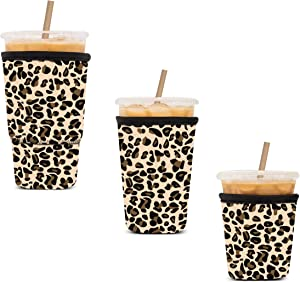 Iced Coffee Sleeve Reusable Cozy Drink Sleeve Kiatoras 3 Pack Neoprene Insulator Cup Sleeve for Cold Drinks Beverages Holder for Starbucks Coffee, McDonalds, Dunkin Donuts and More (LP)