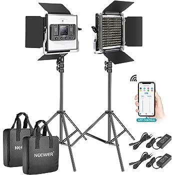 Neewer 2er Pack 528 LED Videolicht metalldimmbar Bi Farbe 3200K-5600K Fotografie Beleuchtungsset mit intelligentem APP Steuerungssystem LCD Bildschirm und Lichtstativ Studio Außen