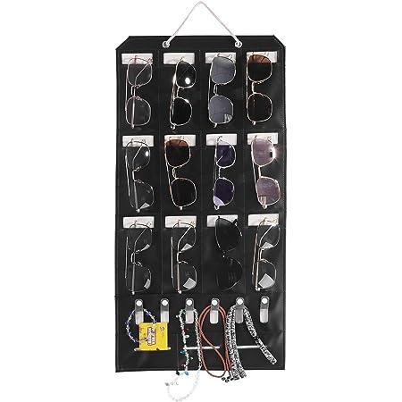 25 Felt Slots Sunglass Organizer Holder Eyeglass Display with Sturdy Rope AROUY Sunglasses Organizer Storage Dark Gray, Large Hanging Wall Pocket Glasses Organizer