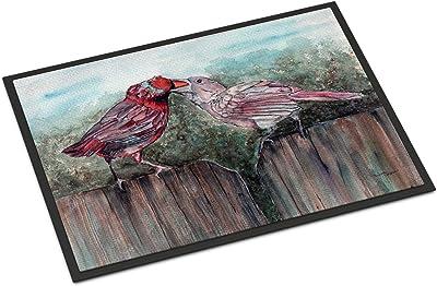 """Caroline's Treasures Red Bird Feeding Indoor or Outdoor Mat 24x36 8981JMAT, 24""""H x 36""""W, Multicolor"""