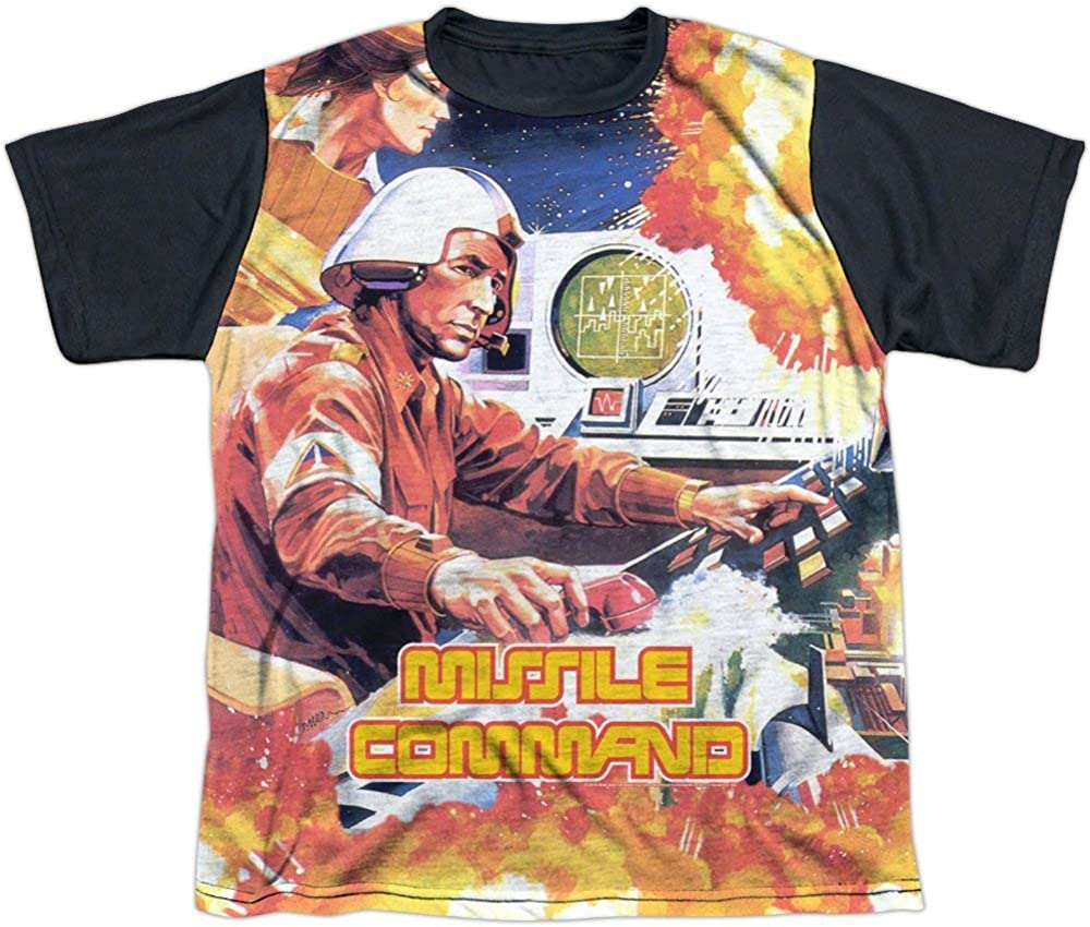 Atari Missile Command Commander All Over Big Boys Youth Black Back T-Shirt Tee