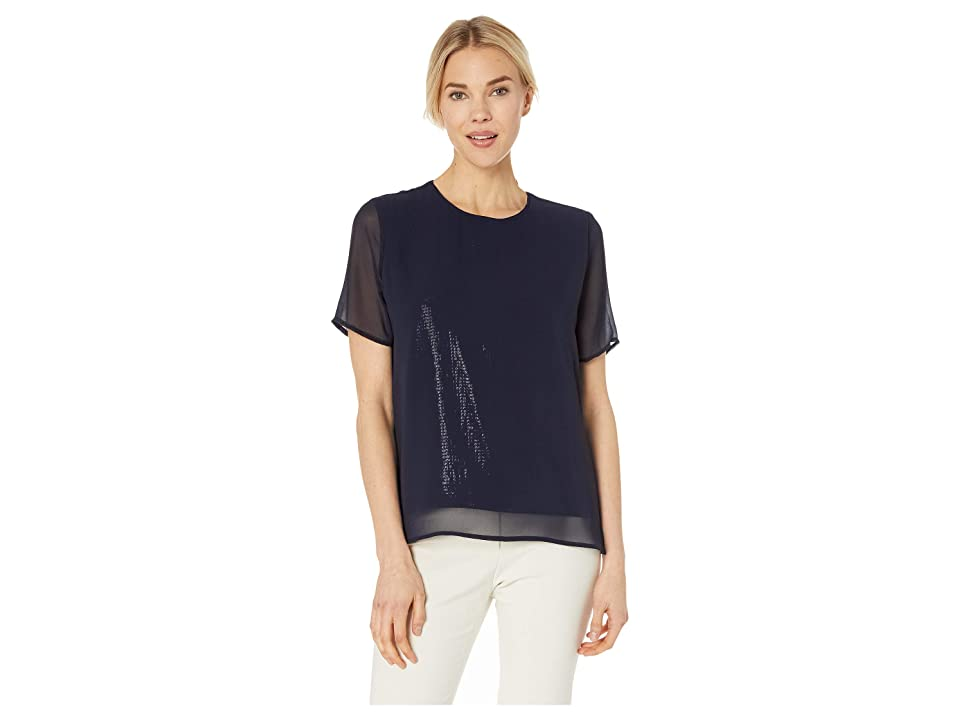 Vince Camuto Short Sleeve All Over Sequin Chiffon Overlay Tee (Classic Navy) Women