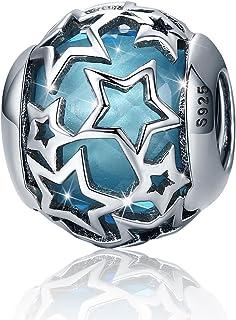 estrella Abalorio en forma de corazón de plata de ley 925 para pulsera europea con cristales azules