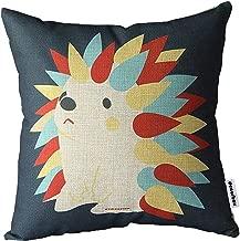 Decorbox Cotton Linen Square Decorative Cushion Cover Sofa Throw Pillowcase 18 x 18, Hedgehog