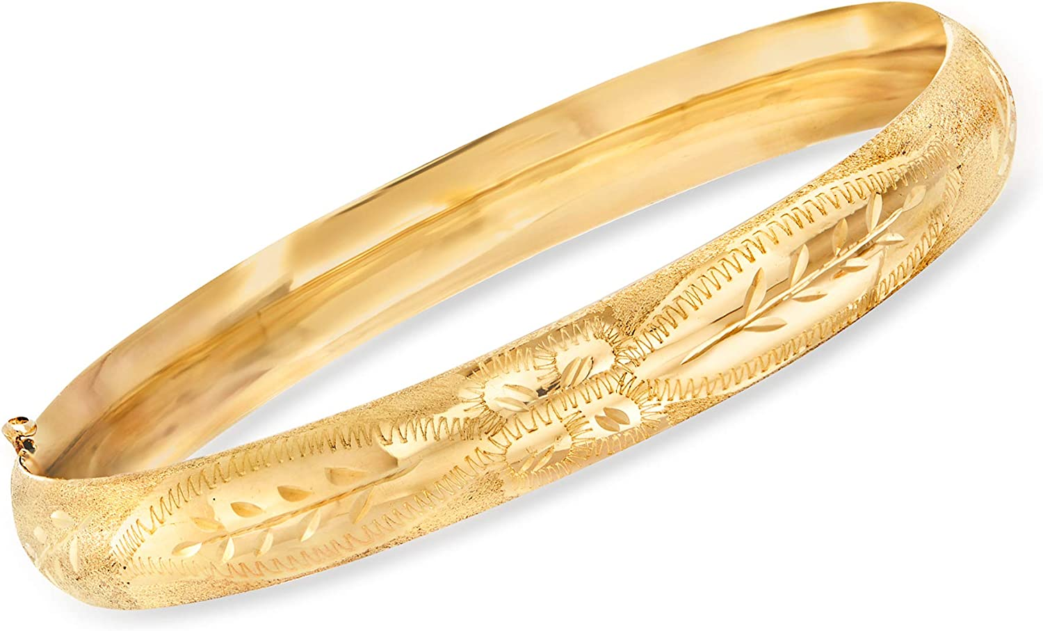 Ross-Simons 14kt Yellow Gold Floral Etched Bangle Bracelet