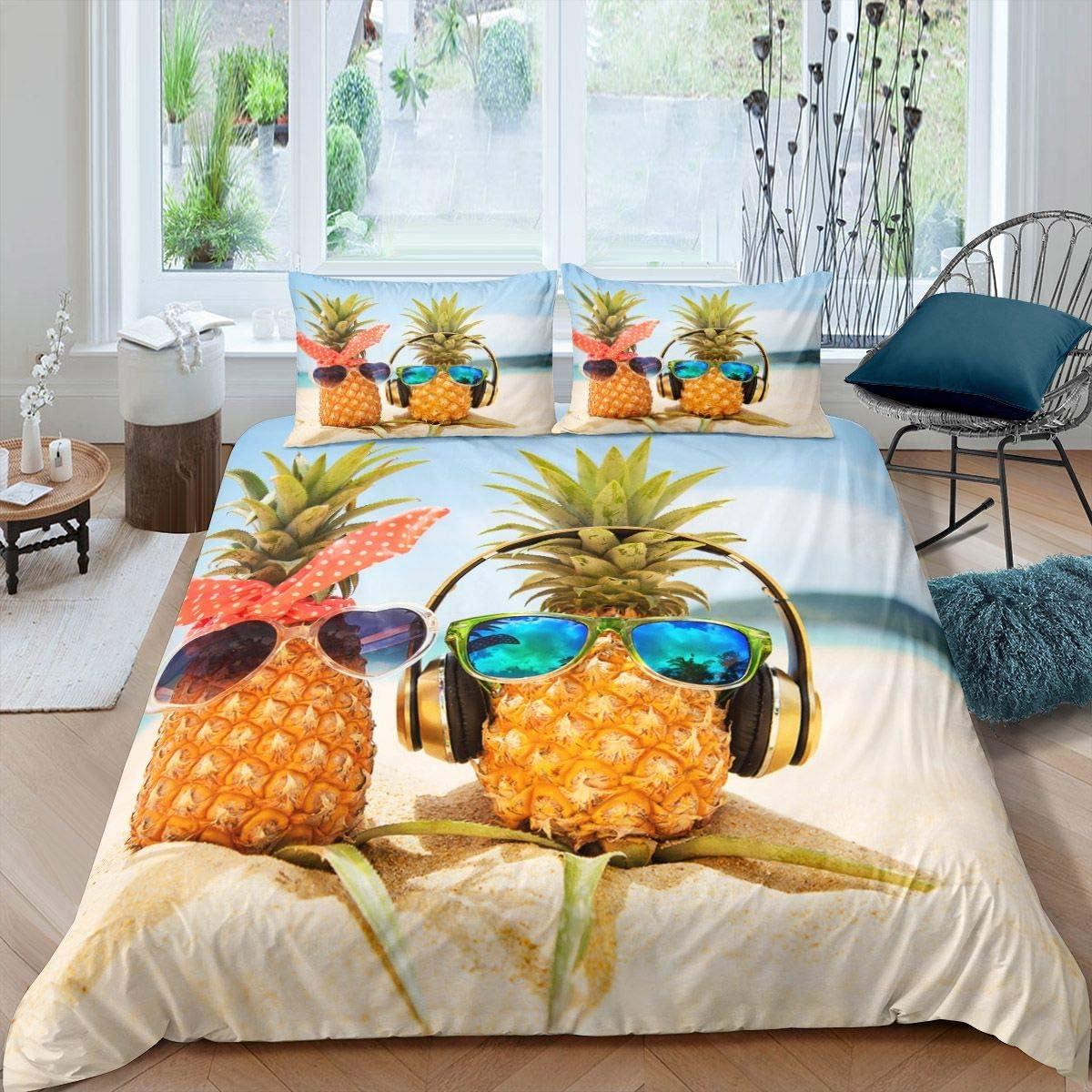 Castle Fairy 店内全品対象 Duvet 大人気 Cover Full Fruit Patt Glasses Beach Pineapple