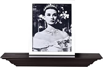 WELLAND 24 Inch Solid Wood Finished Floating Shelves, Corona Crown Molding Wall Picture Display Shelf,Espresso.