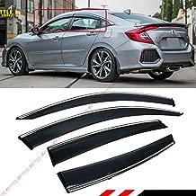 Fits for 2016-2019 Honda Civic 4 Door Sedan Clip on Style Chrome Trim Window Visor Rain Guard Deflector