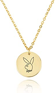 Handmade Playboy Adult Symbol Necklace Bunny Pendant Disk Jewelry BFF Friendship Chain Gift For Woman