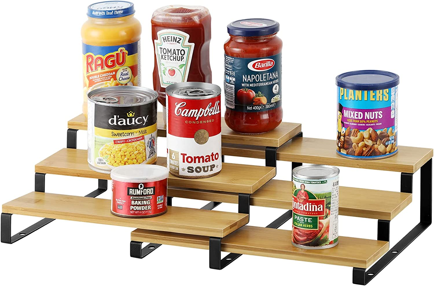 Bamboo Expandable Spice Overseas parallel Trust import regular item Rack 3 Tier for Shelf Step Organizer Cab