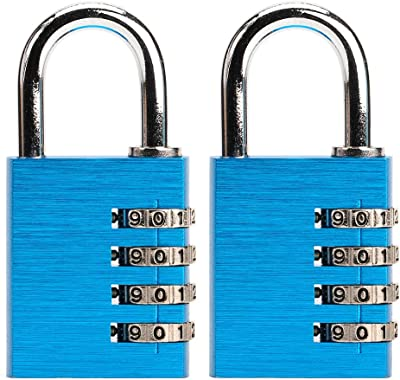 Askano Combination Lock 4 Digit Keyless Waterproof Padlock for Cabinets, School, Employee, Athletic, and Indoor Storage, 2-Pcs, Beautiful Brushed Blue Color
