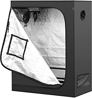 """iPower 48""""x24""""x60"""" Mylar Hydroponic Water-Resistant Grow Tent with Observation Window and Removable Floor Tray, Tool Bag for Indoor Plant Seedling, Propagation, Blossom, etc 2`x4`"""