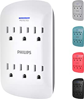 Philips 6-Outlet Surge Protector Tap, 900 Joules, Space Saving Design, 3-Prong, Protection Indicator LED Light, Gray & Whi...