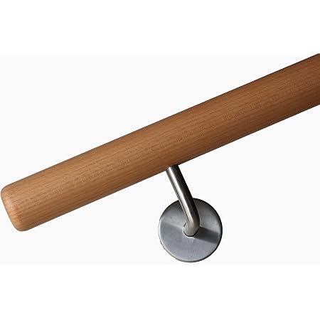 410 cm L/änge mit 5 Haltern und Endst/ück Radius gefr/äst Buche Handlauf Treppen Gel/änder Handl/äufer 30-500 cm aus einem St/ück mit Halter St/ützen Tr/äger und bearbeiteten Enden