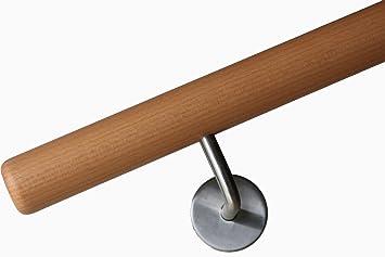 Halter /Ø42mm in verschiedenen L/ängen Buche Handlauf mit Radius u 350cm 5 Edelstahl-Halter