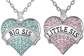 Girls Teens Big Sis & Lil Sis Heart Necklace Set for 2, Matching Sister Necklaces, Big & Little Sisters Jewelry, Granddaughter Gifts