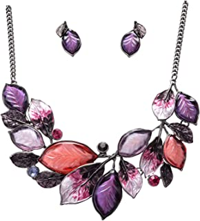 Vintage Statement Jewelry Set Leaf Floral Bohemian Boho Statement Necklace Earring Set Crystal Fashion Costume Jewelry
