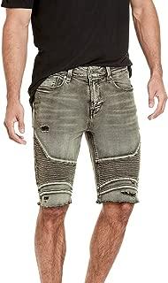 Guess Mens M81AV3R34V0 Slim Moto Short with Destroy Denim Shorts - Green