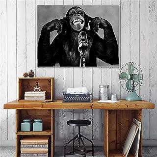 Kanvasmålning dekorativ målning väggmålning Animal Orangutan Music Monkey Canvas Painting Wall Pictures for Living Room De...